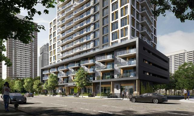 Looking southwest to 12 Cordova Avenue, designed by Rafael + Bigauskas Architects for Minto Group