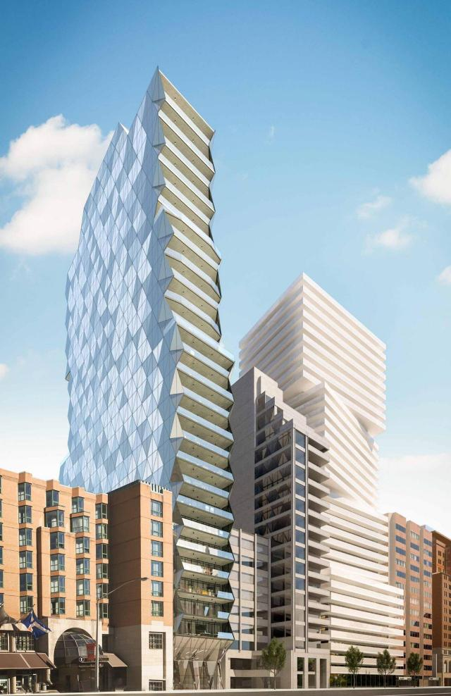 Looking northeast to 210 Bloor Street West, designed by Core Architects for Tribute Communities