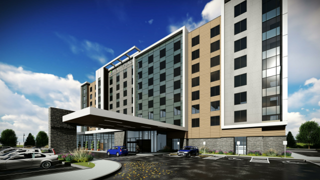 The Hyatt Place Toronto Airport Hotel, designed by Chamberlain Architect Services Ltd for Manga Hotels
