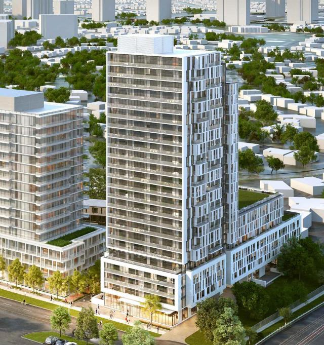 Looking northwest to Verdé Condos, designed by Core Architects for FRAM