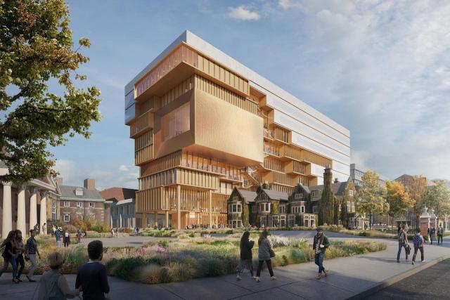 Looking northwest to the Centre for Civilizations and Cultures at the U of T, image by Diller Scofidio + Renfro