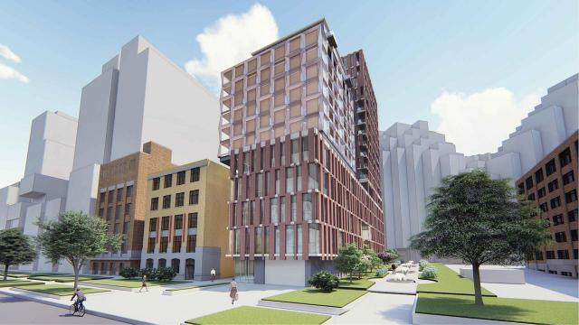 Looking northwest to 462 Wellington West, designed by Giannone Petricone for Verve Senior Living