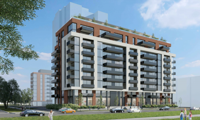Looking southwest to the proposed north building at 765 Steeles Avenue West, image by IBI Group
