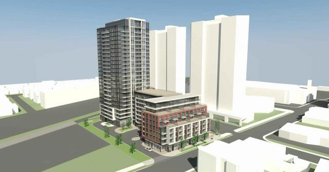 Looking southeast to 2376 Dundas West, designed by Richmond Architects for Lormel