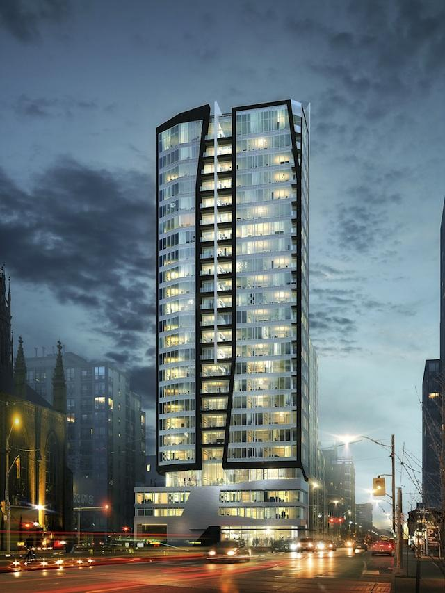 West elevation of Core Condos by Page + Steele /IBI Group Architects for CentreCourt Developments