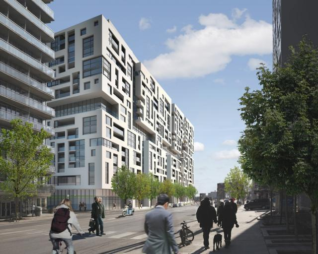 Westside, a Front & Bathurst project by Minto, looking southeast down Bathurst, pre-market rendering