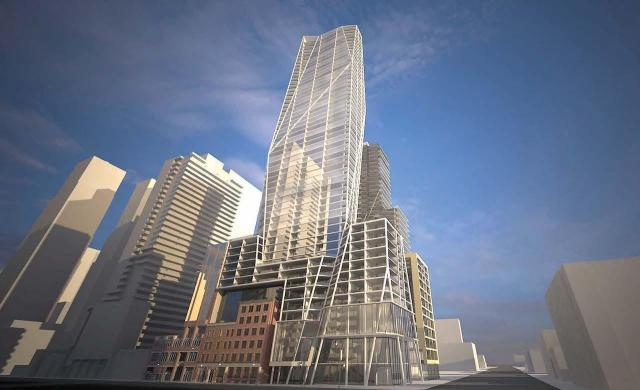 Looking southeast to 401-415 King St W condo designed by Teeple Architects for by Tridel and Terracap