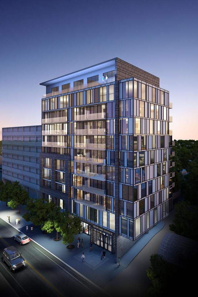Looking northwest towards The Perry, designed by the IBI Group for Mansouri Living