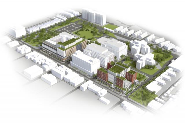 Aerial rendering of CAMH Phase 1C, image courtesy of Stantec Architecture Inc