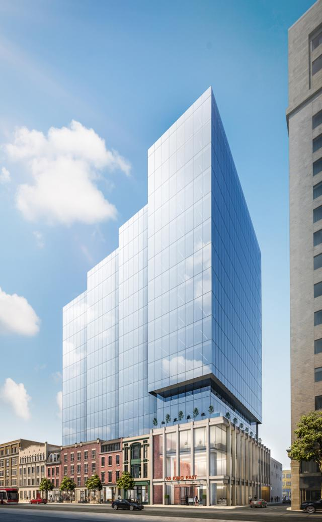 Looking southeast to 65 King Street East, Carttera Private Equities, WZMH Architects, IBI Group, Toronto