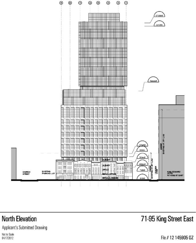 North elevation of 71-95 King East, image from zoning ammendment application