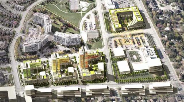 Aerial rendering of development, image courtesy of Hariri Pontarini