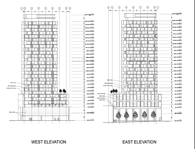 2360 Yonge Street preliminary elevation drawings, from application