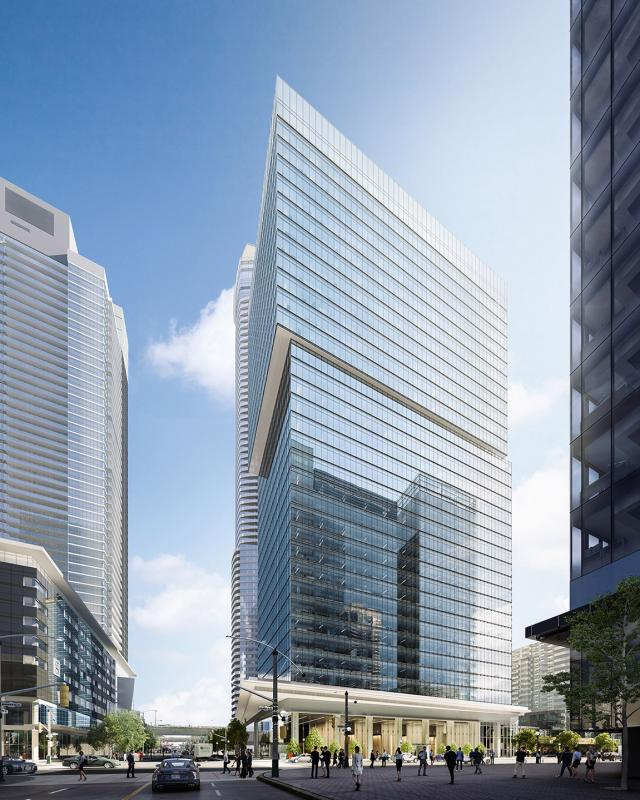 Looking south to 16 York, designed by architectsAlliance and B + H Architects for Cadillac Fairview