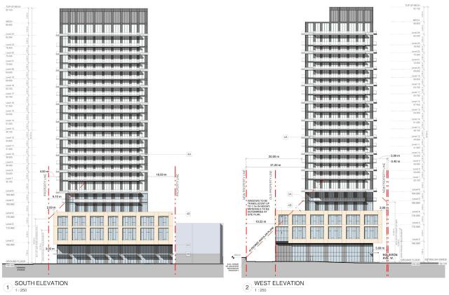 90 Eglinton West, south and west elevations, image by Turner Fleischer Architects