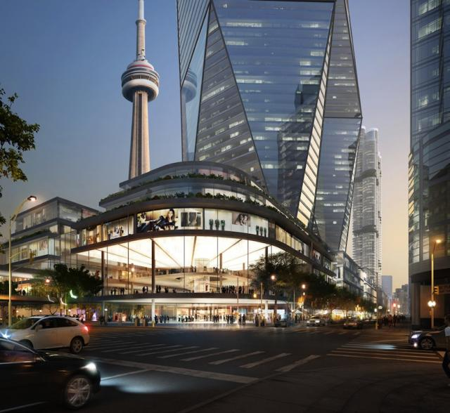 Southwest view of Oxford Place redevelopment of the Metro Toronto Convention Centre, image courtesy of Oxford Properties