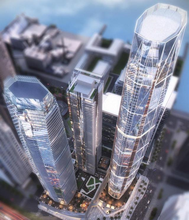 Looking southeast to Pinnacle One Yonge, designed by Hariri Pontarini Architects for Pinnacle International