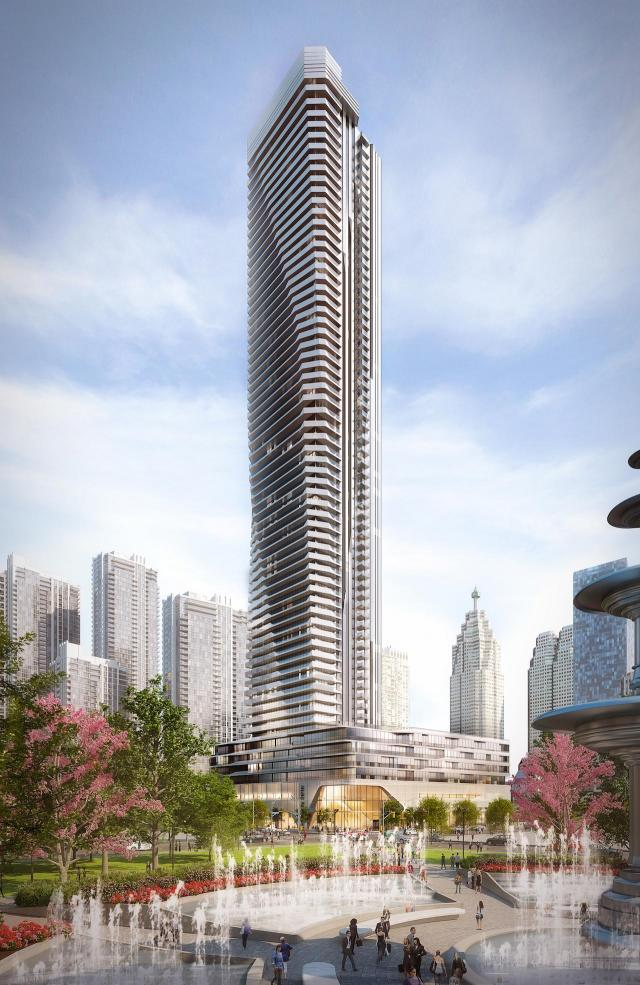 Sculpted exterior of 65-storey Phase 1 at 1 Yonge, image by Hariri Pontarini Architects
