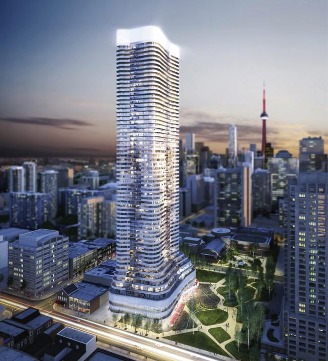 Looking southeast to Wellesley on the Park condos, designed by KPMB Architects and IBI Group for Lanterra Developments