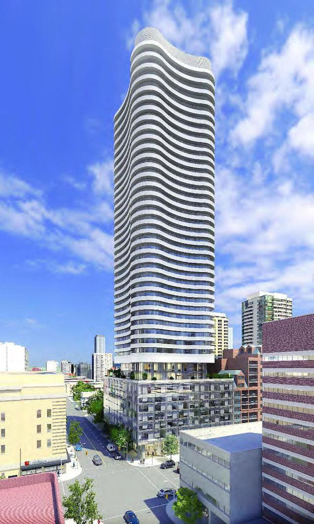 Approved 41-storey version of Stanley at 70 Carlton Street by Core Architects for Tribute Communities