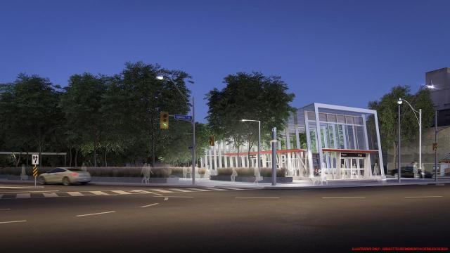 Evening, main entrance to Chaplin Crosstown LRT Station, image courtesy of Metrolinx
