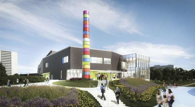 Parkway Forest Community Centre with Douglas Coupland art installation, rendering courtesy of Diamond Schmitt Architects
