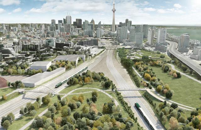 Aerial view looking east, Fort York Pedestrian Bridge, image courtesy of Build Toronto