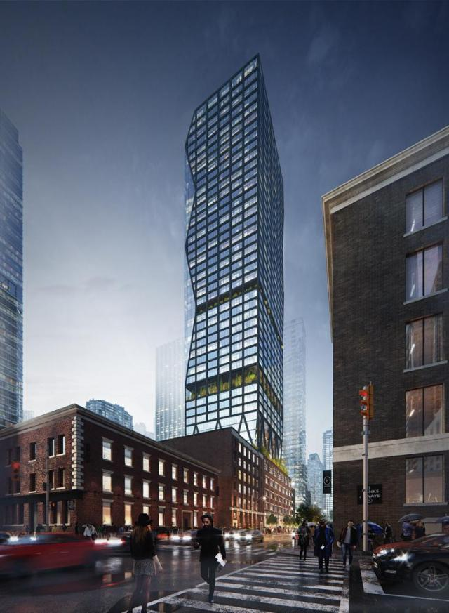 Looking southwest to 263 Adelaide Street West, design by Quadrangle for Storey Living