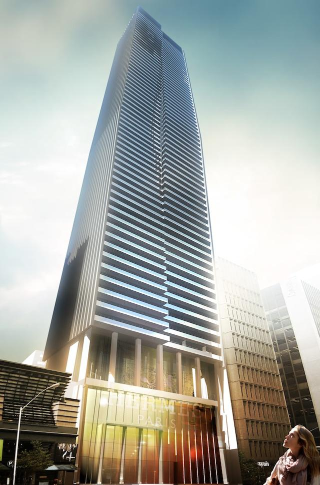 Looking north at 80 Bloor Street West, designed by architectsAlliance for the Krugarand Corporation