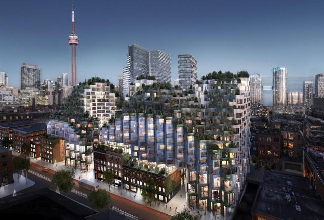 Looking southeast across King St. West, 2.0 submission, image courtesy of Westbank/Allied/BIG