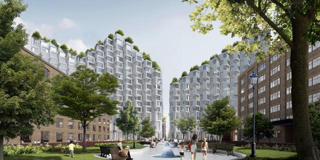 King St. West 2.0 Concept, seen from the Wellington Park to the south, image courtesy of Westbank/Allied/BIG
