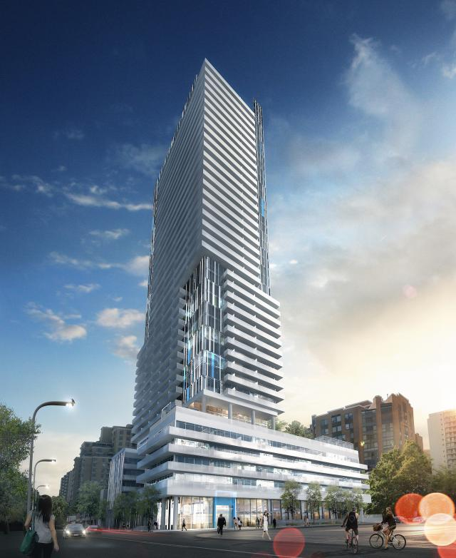 Looking southwest to 150 Redpath Condominiums, image courtesy of Freed