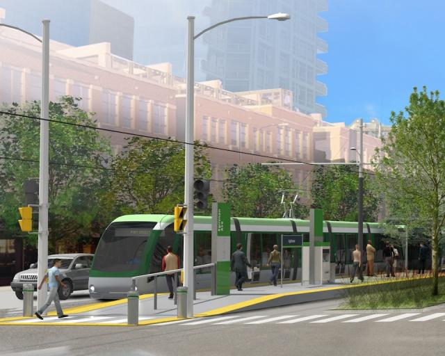 Hurontario-Main LRT at Eglinton, close-up, image courtesy of Metrolinx