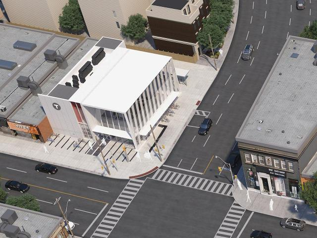Aerial of the primary station building in context, image courtesy of Metrolinx. Artist's concept, subject to change.
