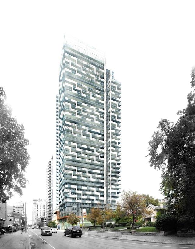 Looking west at 50 at Wellesley Station by Plaza, designed by Quadrangle Architects