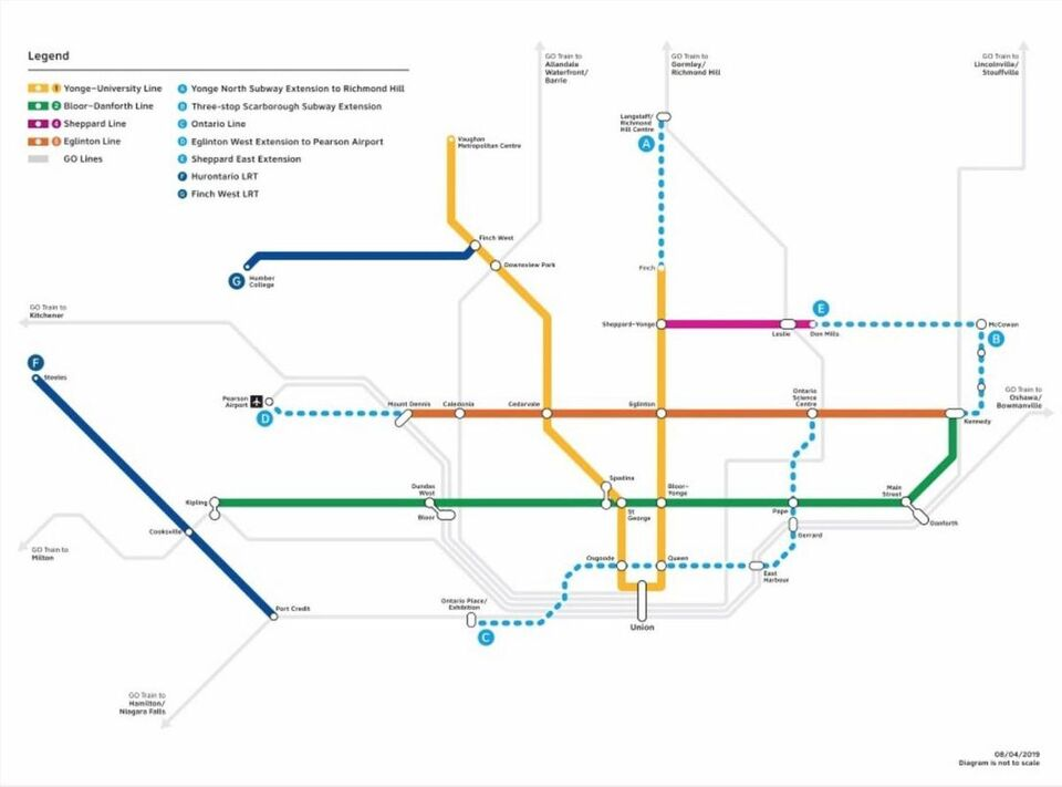 Toronto Subway Map Print.Ontario Government Lines Up New Toronto Transit Plan Urban Toronto